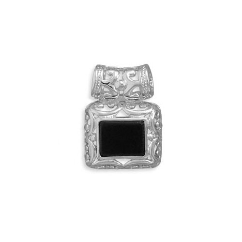 Jewelryweb Sterling Silver Rectangular Black Onyx Slide With Filigree Sides Bail Slide Measures 24x18mmCharm
