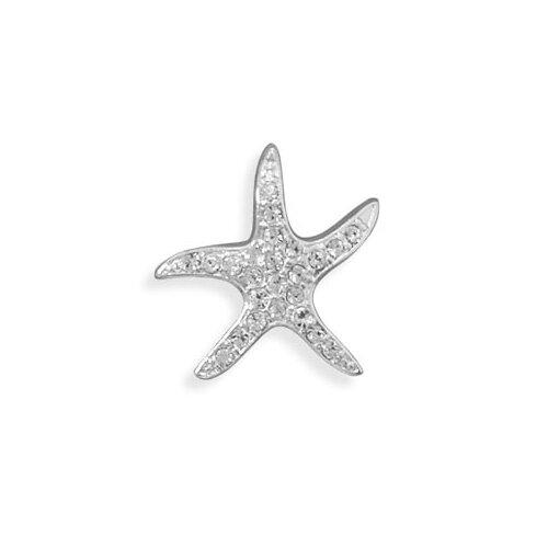 Jewelryweb 23mmSterling Silver Crystal Starfish Slide Charm