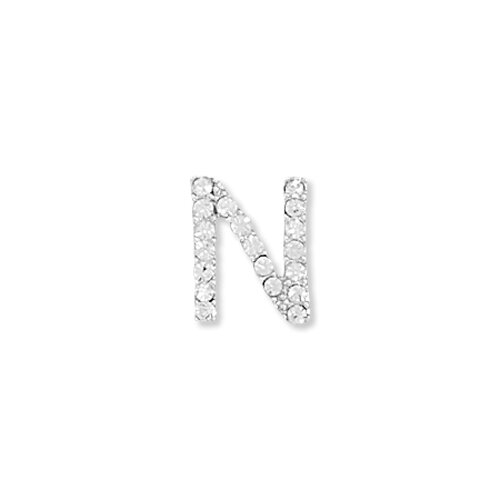 Jewelryweb Rhodium Plated Crystal N Slide 11x10mmWith 2mmCrystals Charm