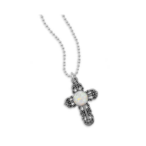 Jewelryweb 16 Inch Silver Bead Chain Necklace 23.5mmX 16mmFiligree Cross Pendant11.5mmSynthetic Opal Center