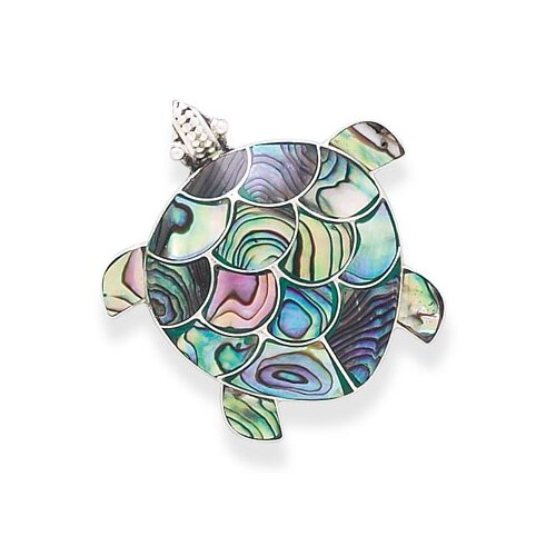 Jewelryweb Paua Shell Turtle Pin PendantSterling Silver Paua Shell Turtle Can Be Worn As a Pin Or A Pendant