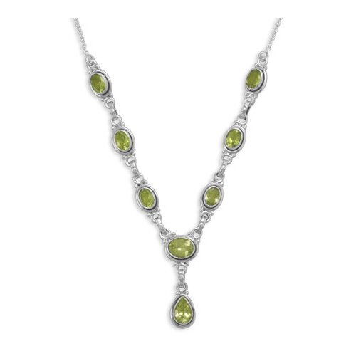 Sterling Silver 16 Inch Necklace With 8 Faceted Peridot Drops