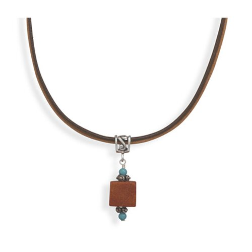 Sterling Silver 16 Inch+2 Inch Extention Leather Necklace With Turquoise and Square Sponge Coral