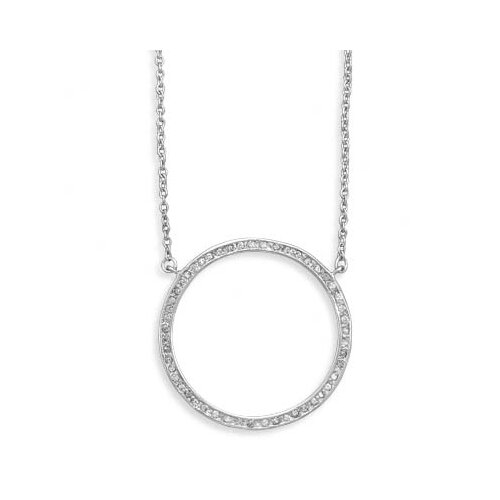 Jewelryweb 16 Inch+2 InchExtention Rhodium Plated Large Open Circle CZ Necklace