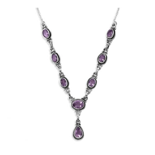 Jewelryweb Sterling Silver 15.5 Inch+1.5 Inch Extention Oval and Pear Shape Necklace