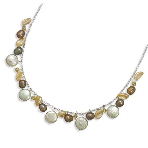 Jewelryweb Sterling Silver 16 Inch+1.5 Inch Extention Necklace With Cultured Freshwater Pearl and Crystal