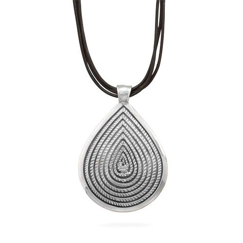 Sterling Silver 16 Inch+1.5 InchExtention Triple Strand Leather Necklace And Oxidized Pendant