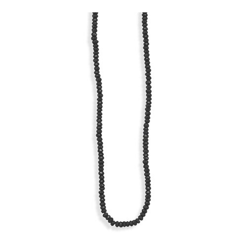 Jewelryweb Silver 16 Inch+ 2 Inch Extention Black Spinel Bead Necklace Spinal Beads Are 4mm Lob-clasp Closure