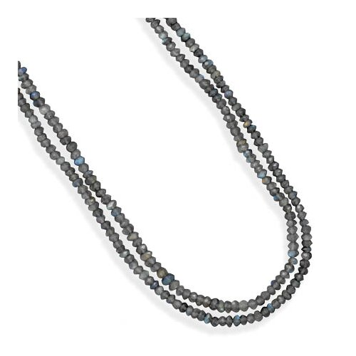Jewelryweb Silver 16 Inch+ 2 Inch Extention Double Strand Labradorite Bead Necklace Labradorite Beads Are 4mm