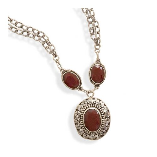 Sterling Silver 16.5 Inch+2 InchExtention Double Strand Necklace With Rough-cut Rubies