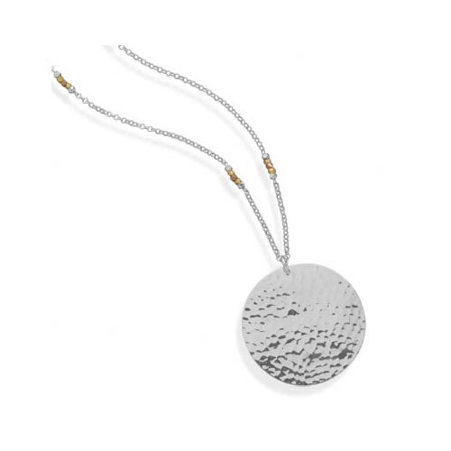 Jewelryweb 30 Inch Sterling Silver Necklace With Hammered Pendant