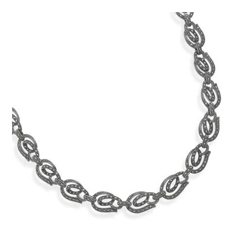 Jewelryweb Sterling Silver 16 InchMarcasite Link Design Necklace 16 InchOrnate Marcasite Link Necklace