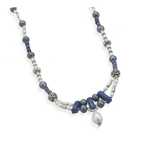 Sterling Silver 16 Inch+ 1.5 InchLapis and Freshwater Cultured Pearl Necklace