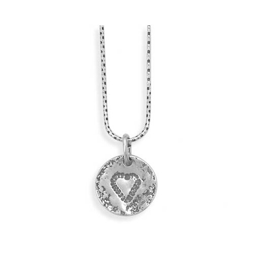18 InchSterling Silver Necklace a 14mmTextured Round Tag With Heart Design Lobster Clasp Closure