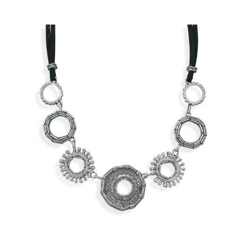 Jewelryweb 18 InchDouble Strand Black Suede Necklace With 7 Oxidized Sterling Silver Multi Design Circles
