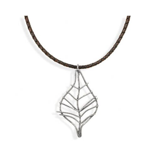 Jewelryweb Sterling Silver 18 InchBrown Leather Necklace With Leaf Design Pendant