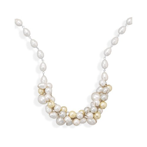 Sterling Silver 16 Inch+2 InchMulticolor Shell Base Cultured Pearl Necklace
