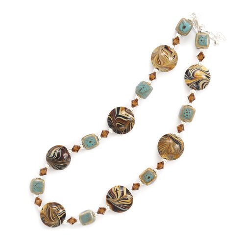 Jewelryweb Sterling Silver 16 Inch+2 InchNecklace Austrian Crystals Ceramic Brown Swirl Glass Beads - 16 Inch