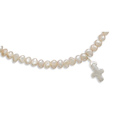 Jewelryweb Sterling Silver 13 Inch+2 InchExtention Freshwater Cultured Pearl Necklace Pearl Cross - 13 Inch