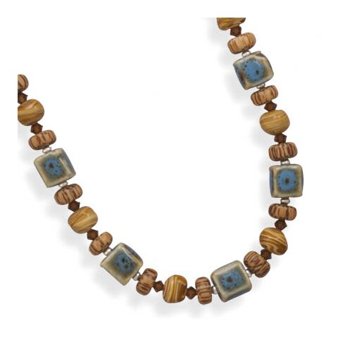 Sterling Silver 17 Inch+2 InchExtention Glass and Wood Bead Necklace - 17 Inch