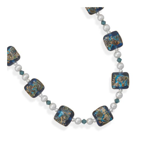 Sterling Silver 17 Inch+2 InchMulticolor Glass Bead Necklace - 17 Inch