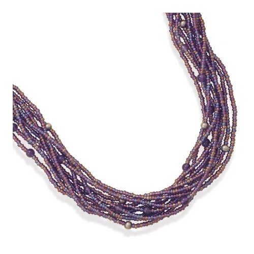 Sterling Silver 18.5 Inch+3 InchMultistrand Glass Bead Necklace - 18 Inch