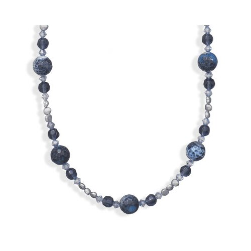 Sterling Silver 16 Inch+2 InchBlue Fire Agate and Freshwater Cultured Pearl Necklace - 16 Inch ...