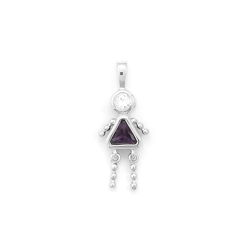 February Birthstone Girl Pendant. Rhodium Plated Purple CZ.
