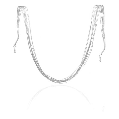 Jewelryweb Sterling Silver 10 Strand Liquid Silver Necklace - Spring Ring Closure
