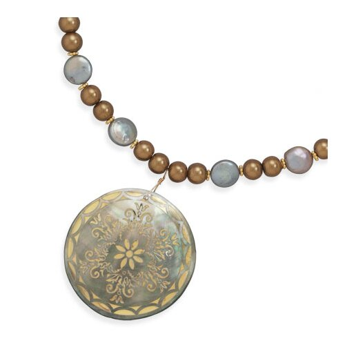 Jewelryweb 16 Inch+2 InchGlass Pearl Coin Pearl Necklace Featuring a Shell PendantGold Plated Beads - Size 16