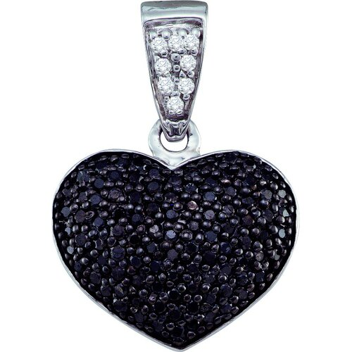 10k White Gold 0.55 Dwt Diamond Heart Pendant