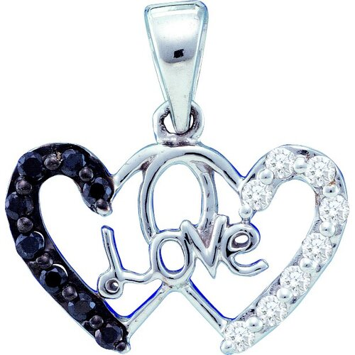 14k White Gold 0.22 Dwt Diamond Heart Pendant