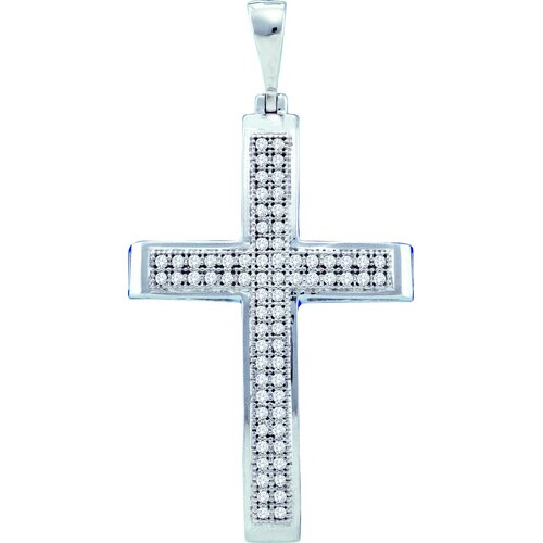 Jewelryweb 10k White Gold 0.20 Dwt Diamond Cross Pendant