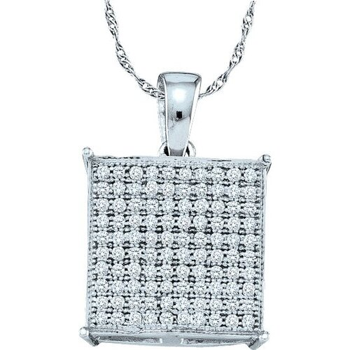 Jewelryweb 10k White Gold 0.30 Dwt Diamond Fashion Pendant