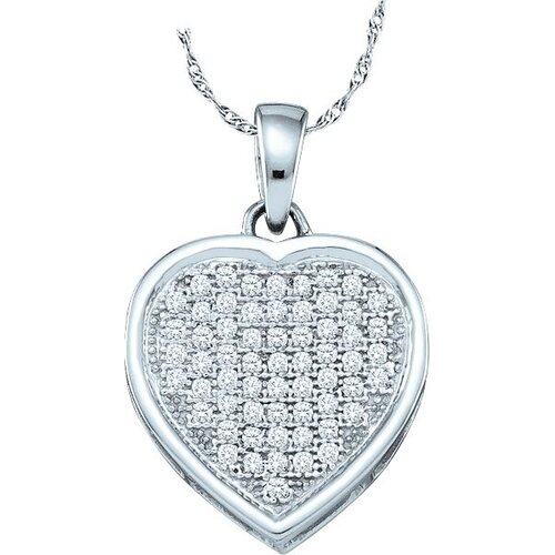 10k White Gold 0.20 Dwt Diamond Heart Pendant