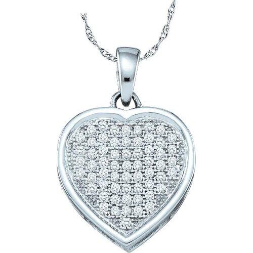 Jewelryweb 10k White Gold 0.20 Dwt Diamond Heart Pendant