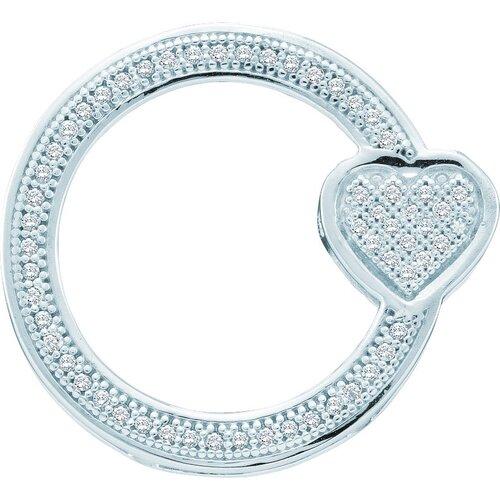 Jewelryweb 10k White Gold 0.15 Dwt Diamond Circle Pendant