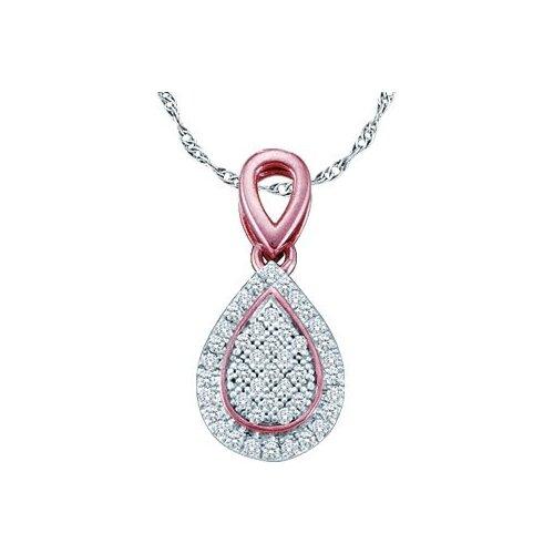 Jewelryweb 10k White Gold 0.12 Dwt Diamond Micro Pave Set Pendant
