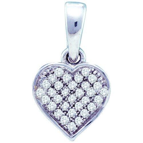Jewelryweb Sterling Silver 0.10 Dwt Diamond Heart Pendant