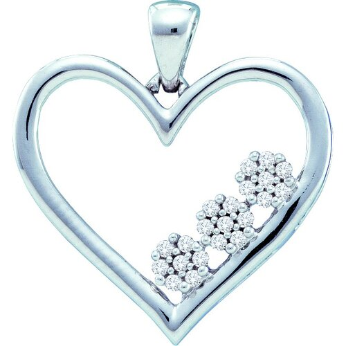 10k White Gold 0.07 Dwt Diamond Heart Pendant