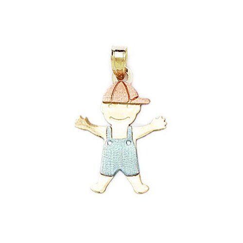 Jewelryweb 14k Yellow White and Rose Gold Small Boy Pendant- Measures 26x16mm- 26 Inch