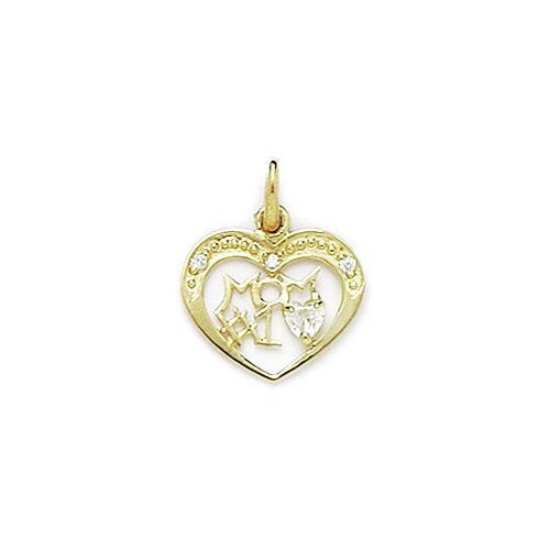 Jewelryweb 14k Yellow Gold CZ Mom Pendant- Measures 18x14mm- 18 Inch