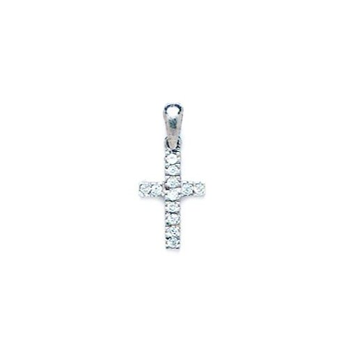 14k Gold CZ Cross Pendant - Measures 18x9mm - 18 Inch