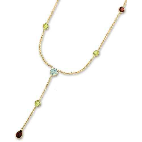 Jewelryweb 14k Yellow Besel Set Y Gemstone Necklace - 17 Inch