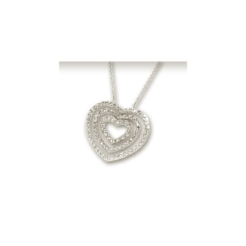 14k White Diamond-Cut Bold Heart Necklace - 18 Inch