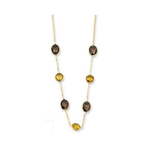 14k Yellow Oval Bezel-set Smokey Topaz Necklace - 17 Inch