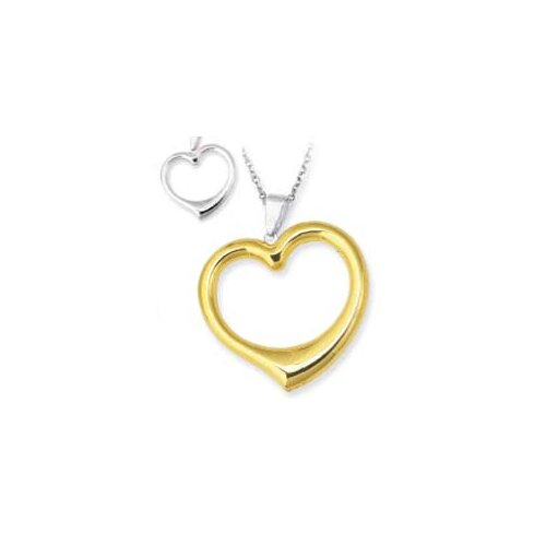 Sterling Silver and 14k Reversible Heart Pendant- 18 Inch