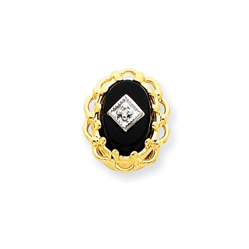 14k Onyx and Diamond Bracelet Slide