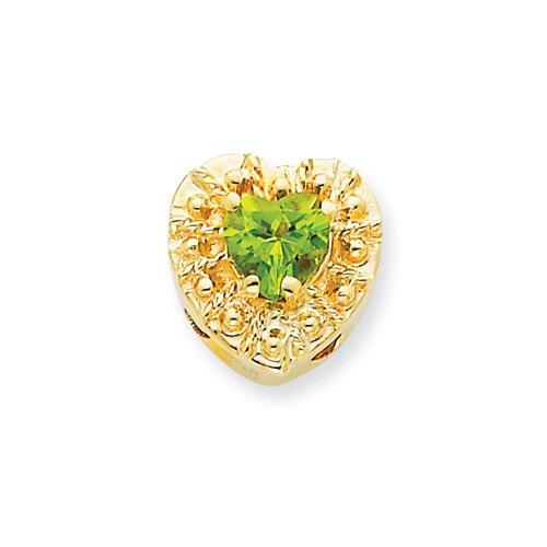 14K Peridot Heart Bracelet Slide