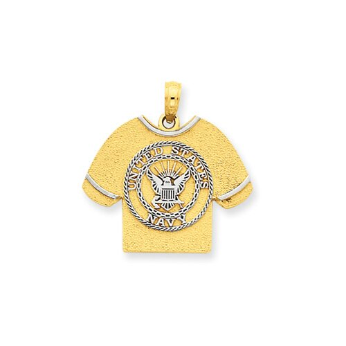 14k and Rhodium US Navy T-Shirt Pendant